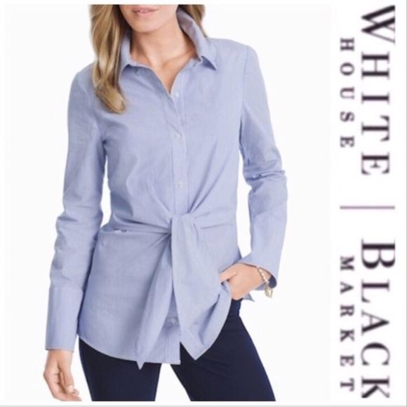 adb5d56e7d865a White House Black Market Tops   Tie Front Poplin Shirt   Poshmark